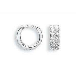 9ct White Gold Cz Huggies Hoop Earrings - Queen of Silver