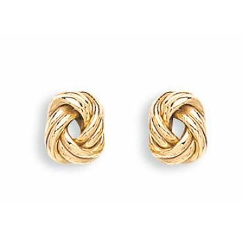 9ct Yellow Gold Oval Knot Stud Earrings - Queen of Silver