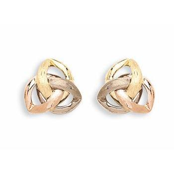 9ct Yellow White & Rose Gold Fancy Stud Earrings - Queen of Silver