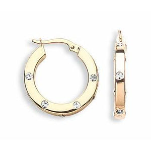 9ct Yellow Gold Cz Hoop Earrings - Queen of Silver