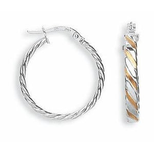 9ct White & Rose Gold Twisted Hoops Earrings - Queen of Silver