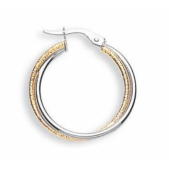 9ct Yellow & White Gold Double Hoop Earrings - Queen of Silver