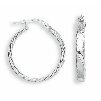 9ct White Gold Fancy Twisted Hoop Earrings - Queen of Silver