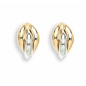 9ct Yellow & White Gold Fancy Stud Earrings - Queen of Silver