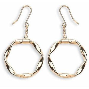 9ct Yellow Gold Twisted Hoop Drop Earrings - Queen of Silver