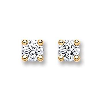 9ct Gold Round Brilliant Cz Stud Earrings - Queen of Silver