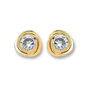 9ct Gold Medium Cz Knot Stud Earrings - Queen of Silver