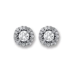 9ct White Gold CZ Cluster Stud Earrings - Queen of Silver