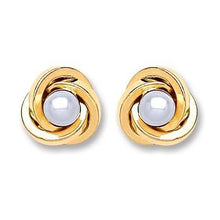 9ct Gold Simulated Pearl Knot Stud Earrings - Queen of Silver