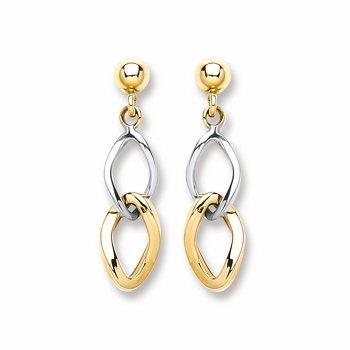 9ct White & Yellow Gold Drop Earrings - Queen of Silver