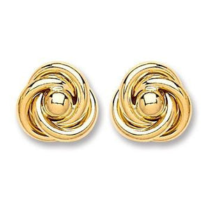 9ct Gold Medium Knot Stud Earrings - Queen of Silver