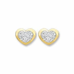 9ct Gold Heart Shape with Crystals Stud Earrings - Queen of Silver
