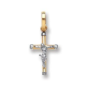 9ct White & Yellow Gold Hollow Crucifix Pendent - Queen of Silver