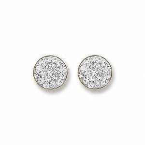 9ct Gold Round Crystals Stud Earrings - Queen of Silver