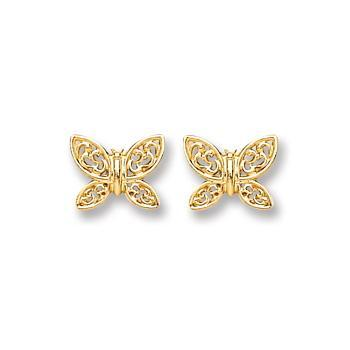 9ct Gold Butterfly Stud Earrings - Queen of Silver