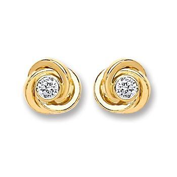 9ct Gold Cz Knot Stud Earrings - Queen of Silver