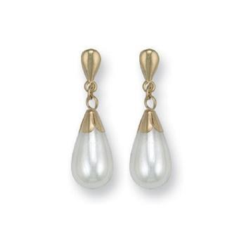 9ct Yellow Gold Simulated Pearl Drop Studs Earrings - Queen of Silver