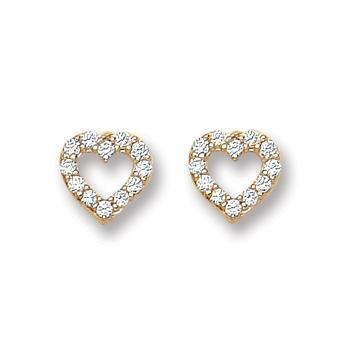 9ct Yellow Gold Heart Shape Cz Stud Earrings - Queen of Silver
