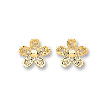 9ct Gold Flower Stud Earrings - Queen of Silver