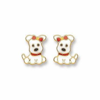 9ct Gold Enameled Puppy Stud Earrings - Queen of Silver