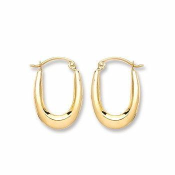 9ct Yellow Gold Plain Oval Hoop Earrings - Queen of Silver