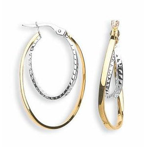 9ct Yellow & White Gold Double Oval Hoop Earrings - Queen of Silver