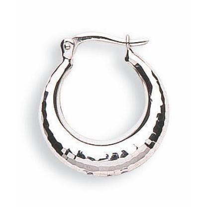 9ct White Gold D/C Hoop Earrings - Queen of Silver