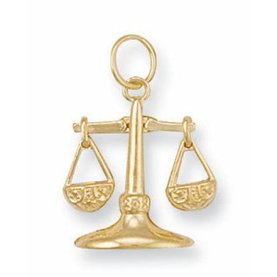 9ct Yellow Gold Libra Zodiac Pendant - Queen of Silver