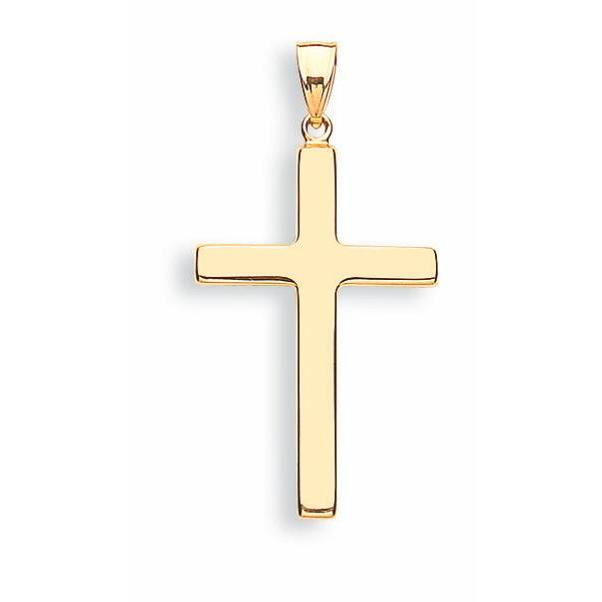 9ct Yellow Gold Plain Hollow Cross Pendent - Queen of Silver