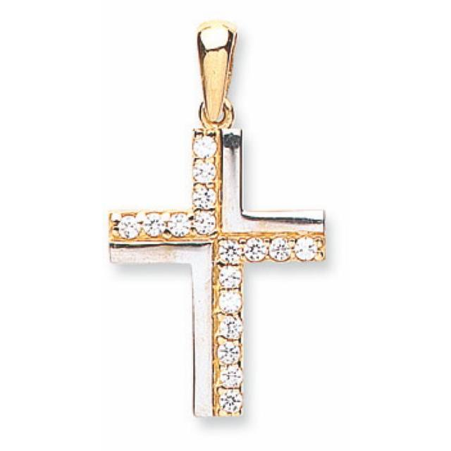 9ct Yellow Gold Cz Cross Pendent - Queen of Silver