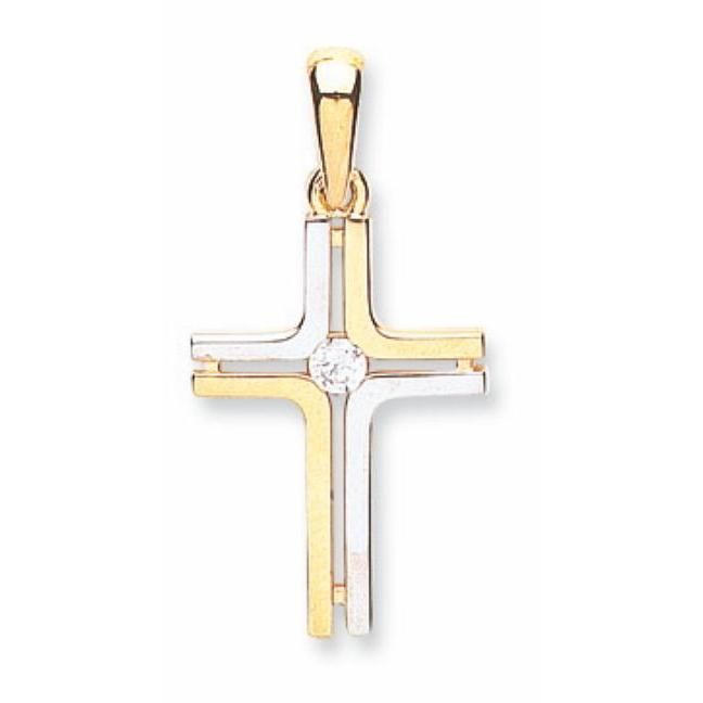 9ct Yellow Gold & White Gold Fancy Cz Cross Pendent - Queen of Silver