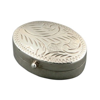 Sterling Silver Small Engraved Oval Pill Box Gifts