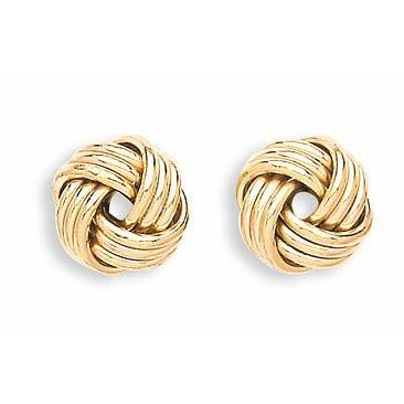 9ct Yellow Gold Triple Knot Stud Earrings - Queen of Silver