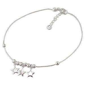 Sterling Silver 3 Stars Oval Trace Anklet - 22-24cm/8.5-9.5in - Queen of Silver