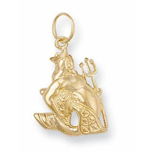 9ct Yellow Gold  Aquarius Zodiac Pendant - Queen of Silver