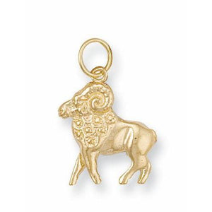 9ct Yellow Gold Aries Zodiac Pendant - Queen of Silver
