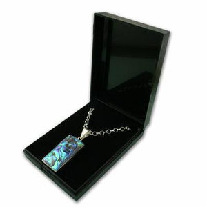 Medium Black Plastic Hinged Necklace Gift Box - Queen of Silver
