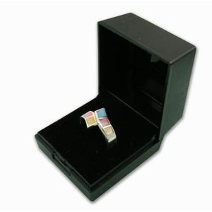 Black Plastic Hinged Ring Gift Box - Queen of Silver