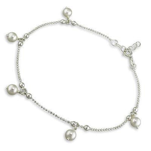 Sterling Silver Ball Chain Anklet With Pearl Drop Beads - 25.5cm - 25cm - Queen of Silver
