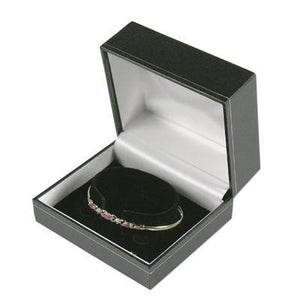 Black with Gold Gilt Border Bangle Gift Box - Queen of Silver