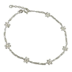 Sterling Silver Light Figaro Chain Anklet With Daisies - 25cm - Queen of Silver