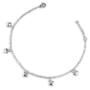 Sterling Silver Hearts Oval Trace Anklet - 3-25cm/9-10in - Queen of Silver