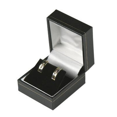 Black with Gold Gilt Border Hinged Earring Box - Queen of Silver