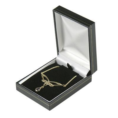 Black with Gold Gilt Border Necklace Gift Box - Queen of Silver