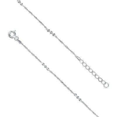 Sterling Silver Twisted with Beads Anklet - 22.5cm - 25cm - Queen of Silver