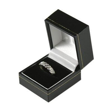 Black with Gold Gilt Border Hinged Ring Box - Queen of Silver