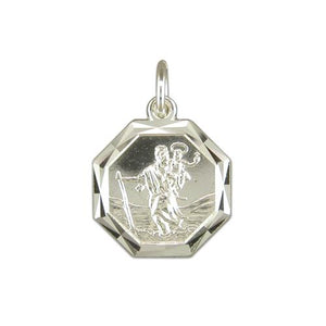 Sterling Silver Diamond Cut Octagonal ST Christopher