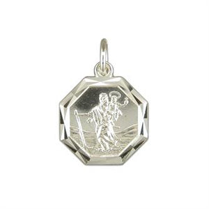 Sterling Silver Diamond-Cut Octagonal ST Christopher