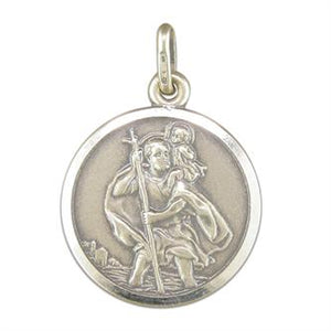 Sterling Silver Antique Finish ST Christopher