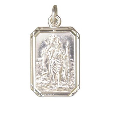 Sterling Silver Large Diamond Cut Oblong ST Christopher